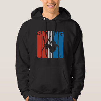 Red White And Blue Skiing Hoodie