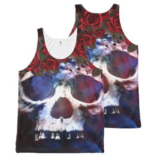 Red, White, and Blue Skull All-Over-Print Tank Top