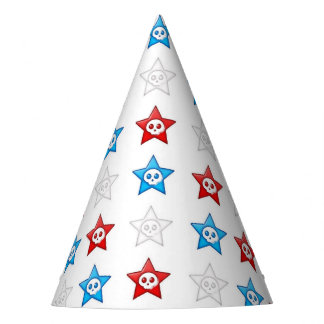 red white and blue skull stars party hat