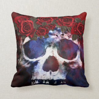 Red, White, and Blue Skull Throw Pillow
