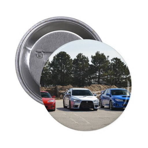 Red, white and blue sport cars pinback button