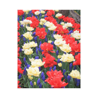 Red, White, and Blue Spring Flowers Canvas Art