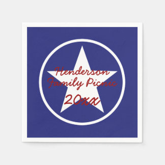 Red White and Blue Star Personalized Disposable Napkin