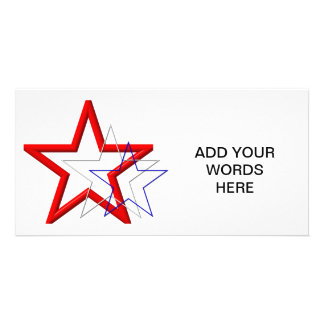 Red, white and blue star trails photo greeting card