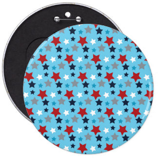 Red White And Blue Stars 6 Inch Round Button