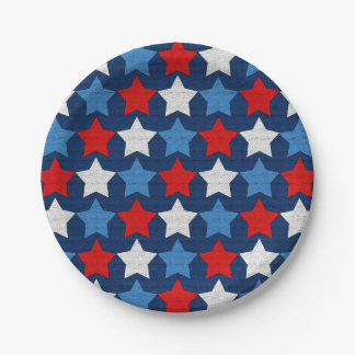 Red white and blue stars 7 inch paper plate