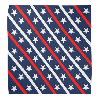 Red, White and Blue Stars and Diagonal Stripes 2 Bandana