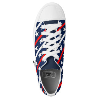 Red White and blue stars and stripes background Low-Top Sneakers