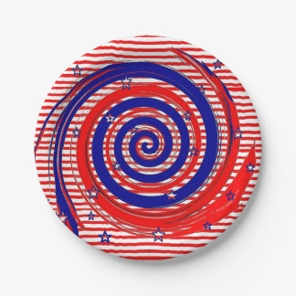 Red White and Blue Stars and Stripes Paper Plate