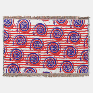 Red White and Blue Stars and Stripes Throw Blanket
