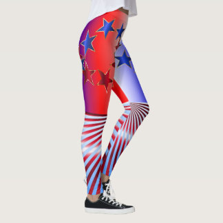 Red, White and Blue Stars and Stripes USA Flag Leggings