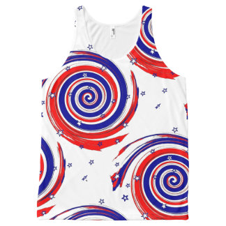 Red White and Blue Stars and Swirling Stripes All-Over-Print Tank Top