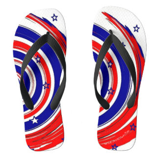 Red White and Blue Stars and Swirling Stripes Flip Flops