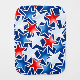 Red white and blue stars burp cloth