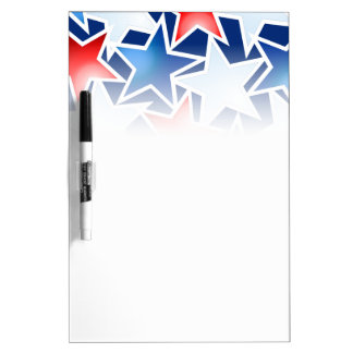 Red white and blue stars dry erase board