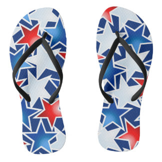 Red white and blue stars flip flops