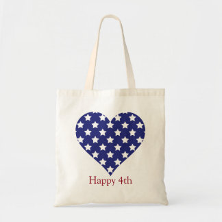 Red White and Blue Stars Heart Personalized Tote Bag