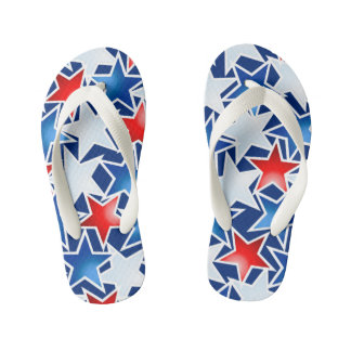 Red white and blue stars kid's flip flops