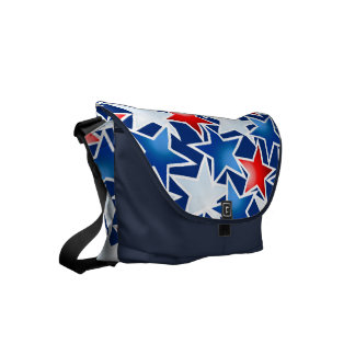 Red white and blue stars messenger bag