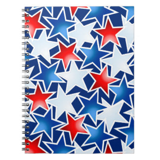 Red white and blue stars notebook