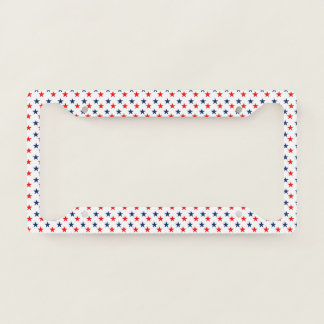 red, white and blue stars patriotic license plate frame