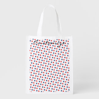 red, white and blue stars patriotic reusable grocery bag