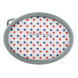 red, white and blue stars patriotic Thunder_Cove Oval Belt Buckles