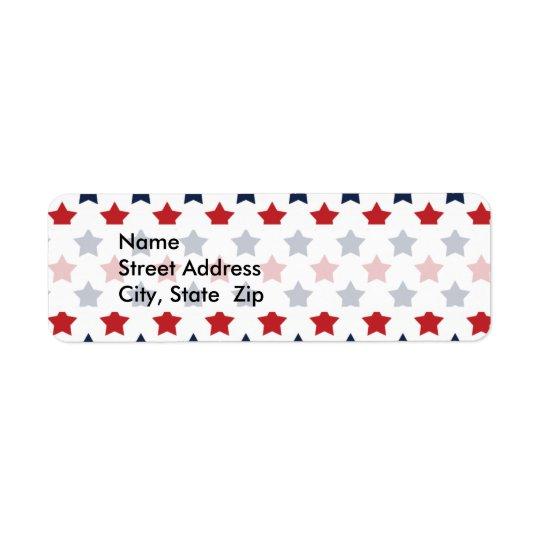 Red, White, and Blue Stars Pattern Return Address Label