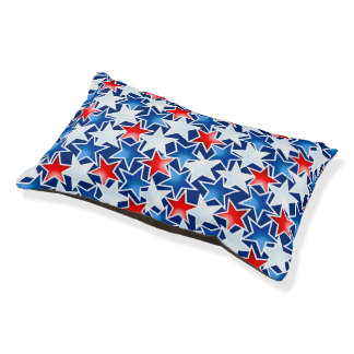 Red white and blue stars pet bed