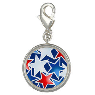 Red white and blue stars photo charm