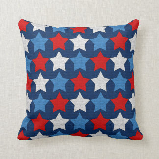 Red white and blue stars throw pillow