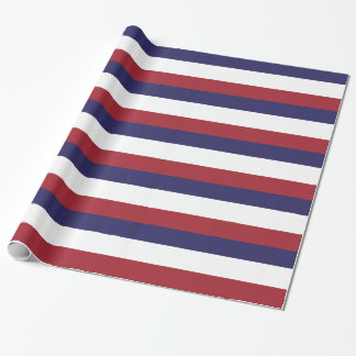 Red, White and Blue Stripe Wrapping Paper