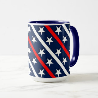 Red white and blue stripes and stars mug