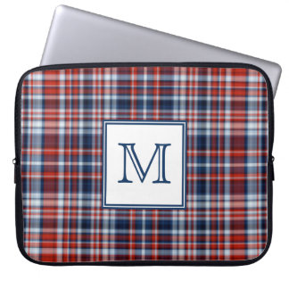 Red White and Blue Tartan Monogrammed Laptop Sleeve