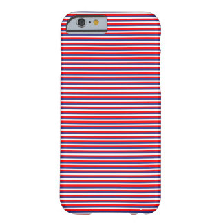 Red White and Blue Thin Striped Festive Patriotic Barely There iPhone 6 Case