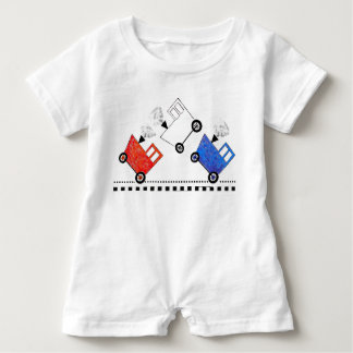 Red White and Blue Train Caboose Baby Romper