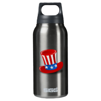 Red, White, and Blue Uncle Sam Top Hat Insulated Water Bottle