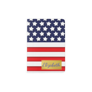 Red, White, and Blue USA Flag Personalized Passport Holder