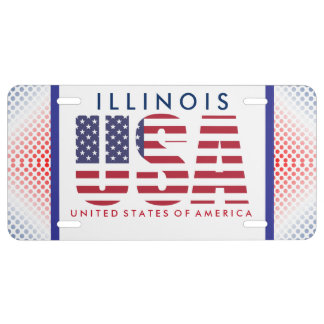 Red, White, and Blue USA License Plate