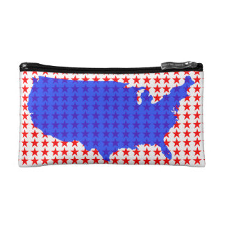 Red White and Blue USA United States of America Makeup Bag
