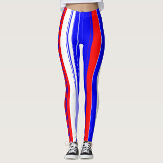 Red white and blue vertical stripes leggings