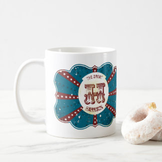 "Red White and Blue Vintage Circus Monogram ""H"" Coffee Mug"