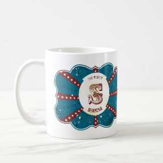 "Red White and Blue Vintage Circus Monogram ""S"" Coffee Mug"