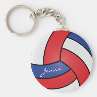 Red, White and Blue Volleyball Design Keychain