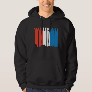 Red White And Blue Wausau Wisconsin Skyline Hoodie