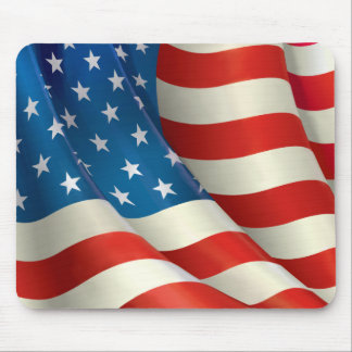 Red White and Blue Waving U.S. Flag Mouse Pad