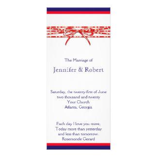 Red White and Blue Wedding Program Rack Card Design