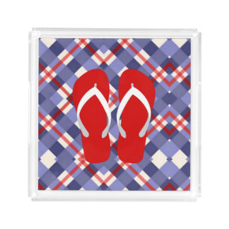 Red, White and Blue with Flip Flops Serving Tray