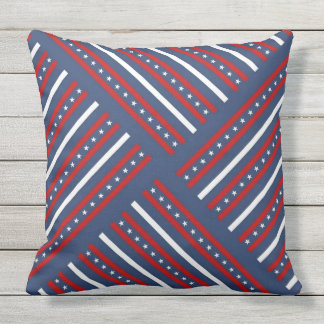 Red white and blue with stars pattern outdoor pillow