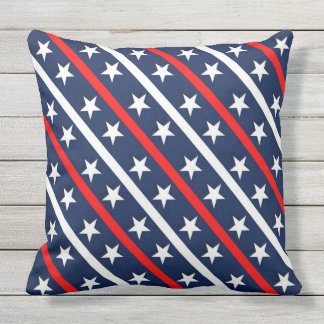 Red white and blue with stars pattern throw pillow